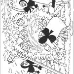 דף צביעה קלפי התלתן משתוללים בגן