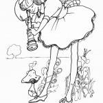 אליס בוחנת במשקפת את הפטרייה