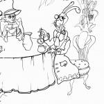 הכובען המטורף והארנביב יושבים לארוחה