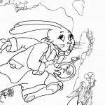דף צביעה הארנב רץ עם שעונו