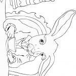 דף צביעה הארנב לוגם מכוס התה