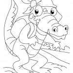 דף צביעה תנין עם בנדנה