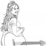 דף צביעה זמרת עם גיטרה 2