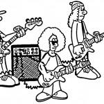דף צביעה להקת נגנים וזמרים