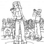 דף צביעה זמרת בהופעה מול קהל