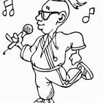 דף צביעה זמר מחזיק במיקרופון