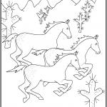 דף צביעה סוסים דוהרים במדבר