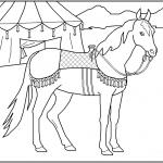 דף צביעה סוס ליד אוהל קרקס