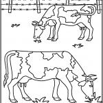 דף צביעה פרות רועות באחו