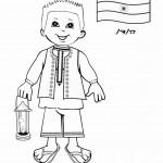 דף צביעה ילד מהודו