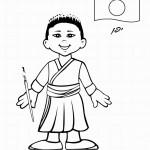 דף צביעה ילד מיפן