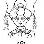 דף צביעה ילדה בלבוש יפני מסורתי