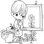 דף צביעה ילד מחזיק במסגרת ציור