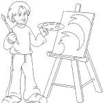 דף צביעה צייר 3