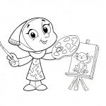 דף צביעה ילדה מציירת חתול