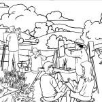 דף צביעה ציירים מציירים בטבע