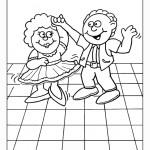 דף צביעה ילד וילדה רוקדים