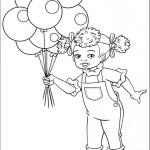 ילדה חמודה אוחזת בצרור בלונים