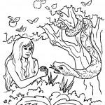 דף צביעה הנחש מפתה את חווה