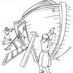 דף צביעה נוח ועוזריו בונים את התיבה