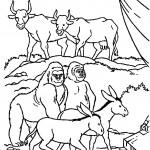 דף צביעה החיות נכנסות לתיבת נוח