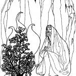 דף צביעה משה מתפלל ליד הסנה הבוער