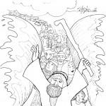 דף צביעה משה ובני ישראל חוצים את הים