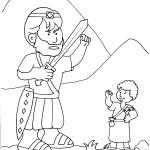 דף צביעה דוד וגוליית