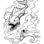 דף צביעה יונה במפגש עם הלוויתן