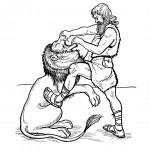 דף צביעה דניאל והאריה
