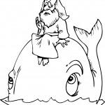 דף צביעה יונה יושב על גב הלוויתן