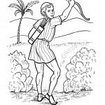 דף צביעה דוד עם חץ וקשת