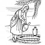 דף צביעה רבקה נוטלת מים מהבאר