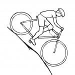רוכב אופניים עולה על ההר