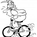 ציפור על ראשו של רוכב אופניים