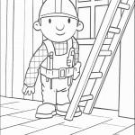 דף צביעה בוב הבנאי מטפס על סולם