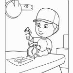 דף צביעה בוב הבנאי מתקן שעון