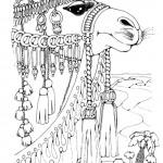 דף צביעה גמל עתיר קישוטים