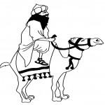 דף צביעה ערבי רוכב על גמל