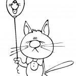 דף צביעה חתול אוחז בלון בצורת חתול