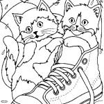 דף צביעה חתולים חמודים ביום גשם