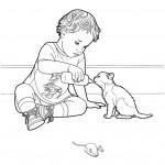 דף צביעה ילד מאכיל גור חתולים