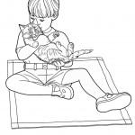 דף צביעה ילד מחבק חתול