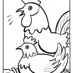 דף צביעה שני תרנגולים