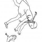 ילדה מנסה לתפוס תרנגול