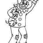 ליצן מחזיק בידו כלבלב
