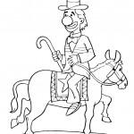 ליצן רוכב על סוס בקרקס