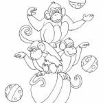 דף צביעה קופים עושים ג'אגלינג