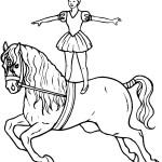 דף צביעה אישה וסוס בהופעה בקרקס