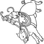 דף צביעה קוף רוכב על חזיר בקרקס